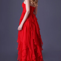Red Off-Shoulder Beaded  Ruffles Layered High-Low Cocktail Dress