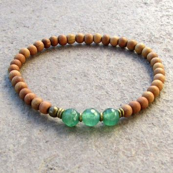 Love, Fourth Chakra, Sandalwood and Aventurine Mala Bracelet