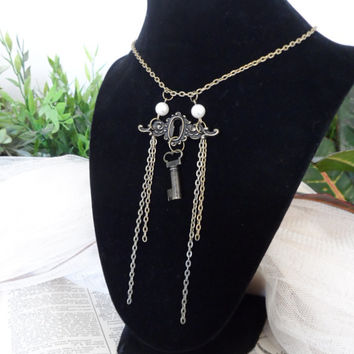Lock and Key Necklace, Skeleton Key, Vintage, Steampunk, Recycled S13