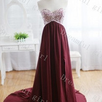 Sweetheart sleeveless crystal beads bridemaid dress ,evening dress ,prom dress