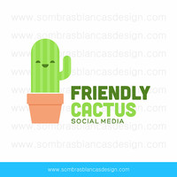 OOAK Premade Logo Design - Friendly Cactus - Perfect for a social media manager or an office accessories and supplies shop