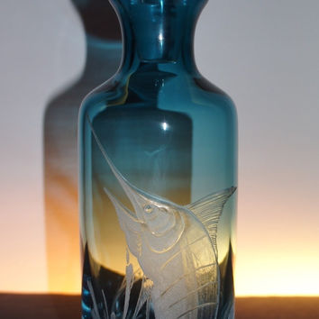 Hand Engraved Marlin on Beautiful Blue Decanter