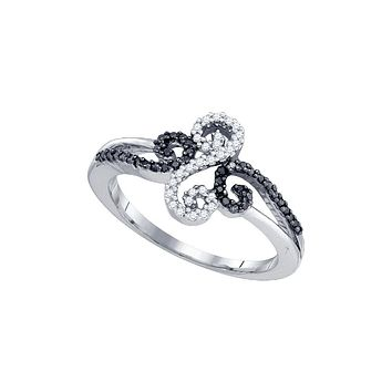 10kt White Gold Womens Round Black Colored Diamond Swirled Whimsical Band Ring 1/5 Cttw 83393