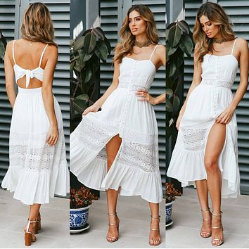 Spaghetti Straps Backless Hollow Out Lace Long Dress