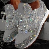 New hot sale sequins breathable rhinestone large size platform sneakers tide