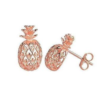 8MM ROSE GOLD PLATED SILVER 925 HAWAIIAN PINEAPPLE POST STUD EARRINGS