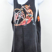 Mens Slayer Show No Mercy Tour 1983 Cut off Tank Top Shirt Pentagram Baphomet S/M