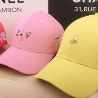 SIMPLE - Summer Gift Retro Embroidery Fruit Baseball Cap Unique Casual Hat a12439