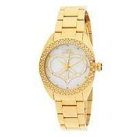 Invicta Women's Peace & Love Mother-of-Pearl Crystal Accented Bracelet Watch