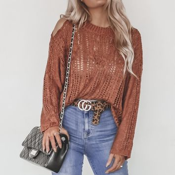 Knit Me A New One Rust Crochet Sweater