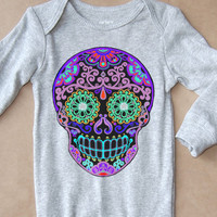 Purple Skull Long Sleeve creeper Trendy Baby Onesuit in Heather Gray. Day of the dead toddler clothes. Rocker Baby 3m 6m 12m Onesuit jumper
