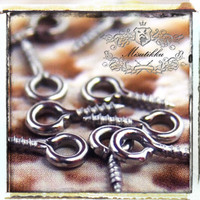 Set of 100 pcs (8mm x 4mm) Small Mini Tiny Antique Silver Round Rings Finished Eyehook Screw Eyes Pins Eyepin - Jewelry Craft (JW.EQ)