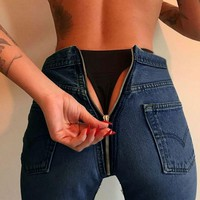 Fashion Slim High Waist Zipper Pants