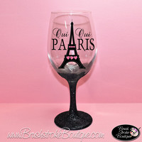 Hand Painted Wine Glass - Oui Oui Paris - Original Designs by Cathy Kraemer