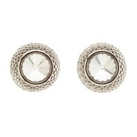 Silver Chain-Trimmed Rhinestone Stud Earrings by Charlotte Russe