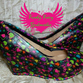 Neons- hearts on black wedge shoe