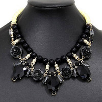 Black Beaded Link Faceted Stone And Floral Drop Choker Necklace