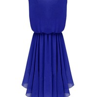 AM CLOTHES Womens Sleevess Round Neck Middle-rise Dress (LARGE, C-Blue)
