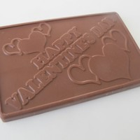 Solid Milk Chocolate Happy Valentine's Day Unique Novelty Gourmet Candy Gift Boxed Greeting Card For Adults , Children & Lovers