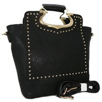 Classy Top Handle Studded Fashion Tote Purse w/ Shoulder Strap Black