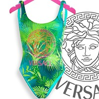 Versace Vest Type Women U Neck One Piece Bikini Swimsuit Print Green Leaf
