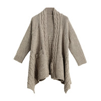 Vintage Stripes Open Front with Side Pockets and Asymmetric Hem Winter Knitted Cape Poncho in Khaki