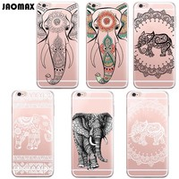 Cute Cartoon Mandala Animal Elephants Case For iPhone 6 6S 6 Plus 6s Plus 5 5S SE 7 7 Plus Transparent Silicone Phone Capa
