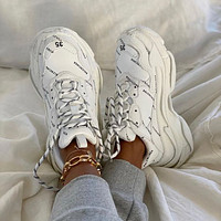 Balenciaga Triple S Fashion father shoes men and women increased thick soles non-slip classic splicing breathable leisure single shoes