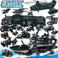 2018 City Police Military SWAT Arms Vehicle Sets Truck Gunship Helicopter Model Legoing Building Blocks Brick Technic Gift