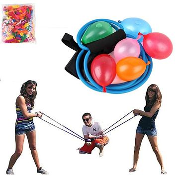 Durable Water Balloon Launcher Thrower Cannon Water Battle Pool Party 3 Person Balloon Slingshot Summer Junior Adult Water Toys
