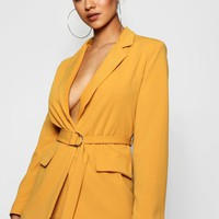 D-Ring Pocket Detail Longline Blazer | Boohoo