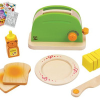 Hape 3105 Pop-Up Toaster Play Food Toy with Coloring Book