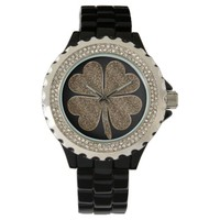 Four Leaf Clover Good Luck Symbol Black Gold Look Wrist Watch