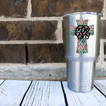 Lilly Pulitzer Inspired Cross Monogram Decal-  Laptop Decal - Water Bottle Decal - Car Decal -Faith Christian Cross Religion - Window Decal