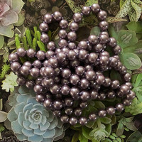 "Eggplant Purple 20s 1920s Gatsby Faux Long Pearl Necklace Jazz Era 20's 1920's Downton Abbey Pearls 48"" Flapper Accessory Jewelry"
