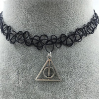 Tattoo Choker Necklace with Pendant + Gift Box-31