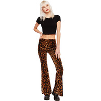 Welcome to the Jungle Leopard Bell Bottom Velvet Pants