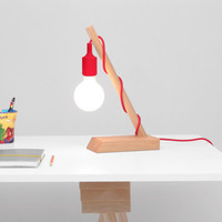 ON SALE- Wedge Lamp: Modern Table Lamp with Colored Fabric Cords.