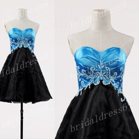 Sky Blue Applique Sweetheart Strapless Lace-up Black Short Ball Gown Cocktail Dress,Chiffon Evening Party Prom Dress New Homecoming Dress