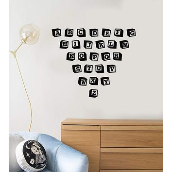 Vinyl Wall Decal Toy Blocks Alphabet ABC Nursery School Class Child Room Stickers Mural (ig5347)