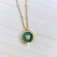 Versace new Medusa head white mother-of-pearl malachite embossed titanium steel necklace