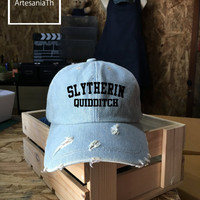 Slytherin Quidditch Harry Potter, Baseball Cap, Denim Cap, Jean Cap, Slytherin Cap, Girlfriend gift, Low-Profile, Baseball Hat