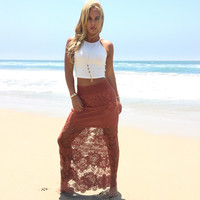 Dreaming Of Crochet Maxi Skirt In Rust