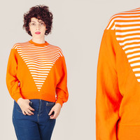 70s Orange Striped Jumper / Tangerine & White Jersey Knit Sweater / Sporty Novelty Retro Medium M Sweatshirt