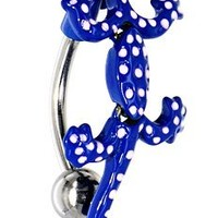 Blue polka dot Lizard gecko reptile Reverse Top Mount Belly navel Belly button navel piercing bar body jewelry 14g