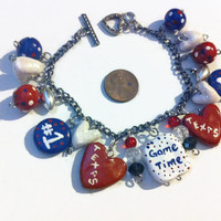 Texas Football Cheer Bracelet, Texas Football, Houston Texans, Red White and Blue, Patriotic, Polymer clay charms, chunky charm bracelets,
