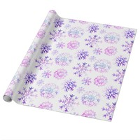 Purple Watercolor Snowflake Christmas Design Wrapping Paper