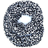 Black Valentine Hearts Infinity Scarf Womens Endless Loop Tube Scarf Valentine Fashion Scarves Cute Teen Womens Valentines Day Scarf