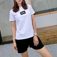 """Dolce & Gabbana"" Women Casual Simple Short Sleeve T-shirt Letter Webbing Shorts Set Two-Piece Sportswear"