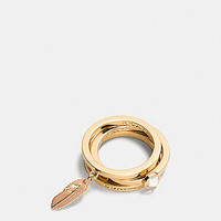 Pave Metal and Enamel Feather Ring Set